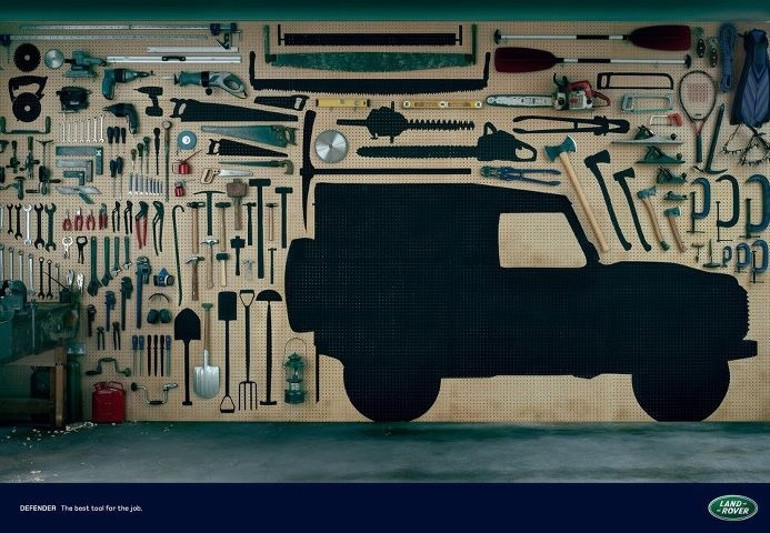 "Land Rover Defender.   ""Defender. The best tool for the job.""    Advertising Agency: RKCR/Y&R, London, United Kingdom  Copywriter: Adrian Lim  Art Director: Steve Williams  Planner: Richard Cordiner  Media Agency: Mindshare  Photographer: Andy Green"