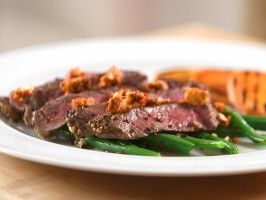 Spice-Crusted Rib Eye Steaks with Coriander Blue Cheese, Grilled Yams ...