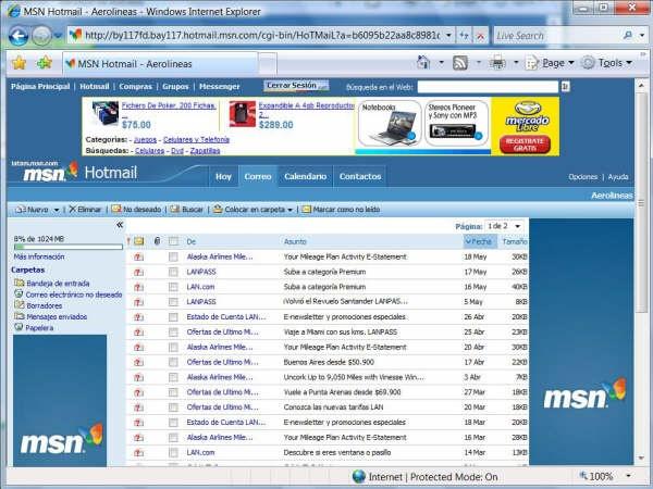 Iniciar sesion Hotmail, tu correo msn hotmail inicio personal y registrarse hotmail.com para conseguir tu correo con m?s de 2GB de almacenamiento.