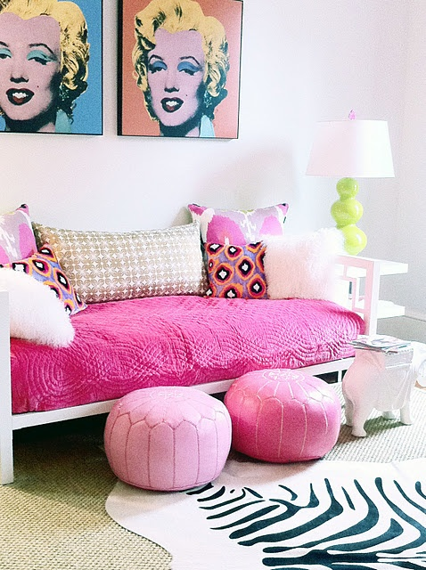Hot pink poufs for end of bed
