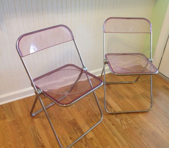 Mid Century PINK LUCITE Acrylic Folding Chairs Pair by Plia Castelli