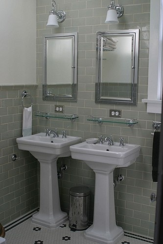 ... on the tile. Perfect sinks. Do I do double between the windows