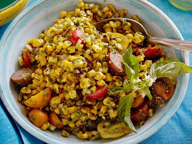 Charred Corn Salad with Basil Vinaigrette from CookingChannelTV.com
