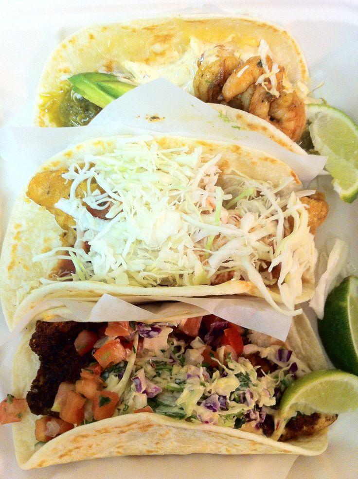 ... Fish Tacos! - The Original, blackened tilapia & salsa verde shrimp
