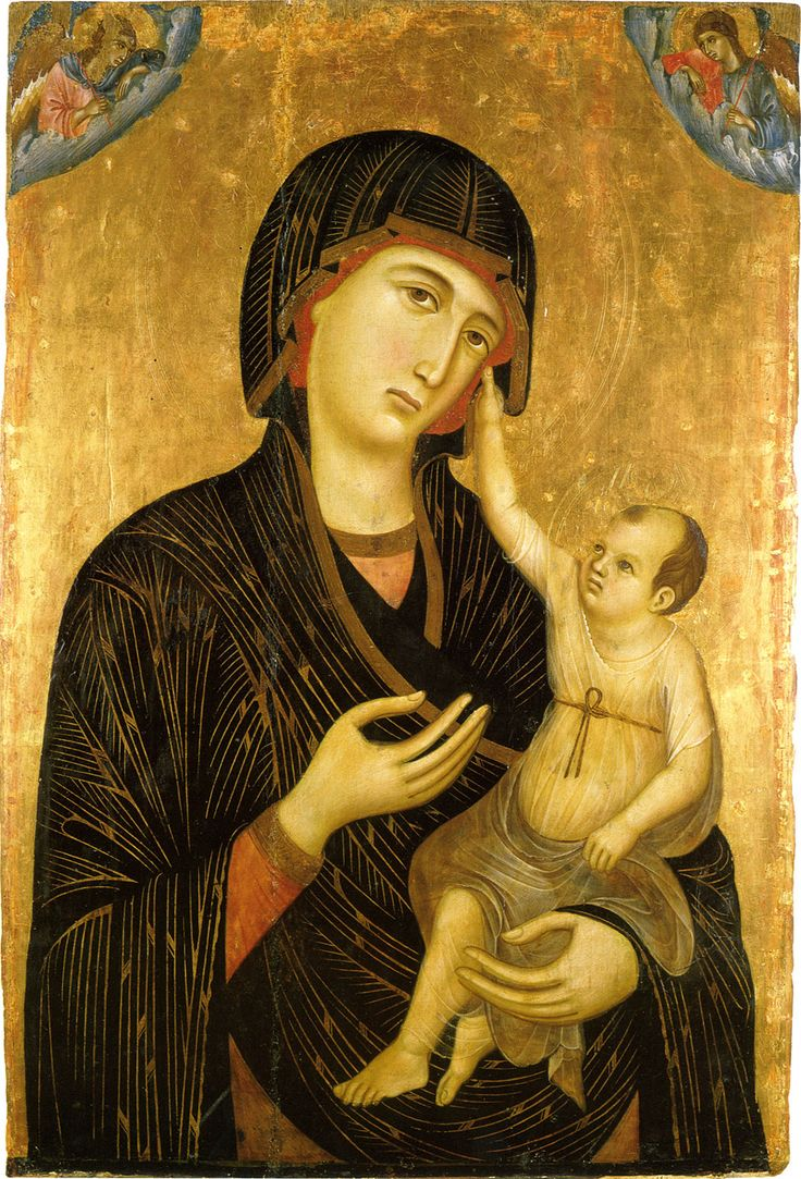 Madonna and Child by Duccio, tempera and gold on wood, 1284, Siena