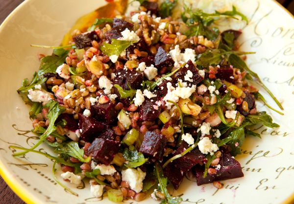 ... Food Forever » Farro Salad With Roasted Beets, Goat Cheese & Walnuts