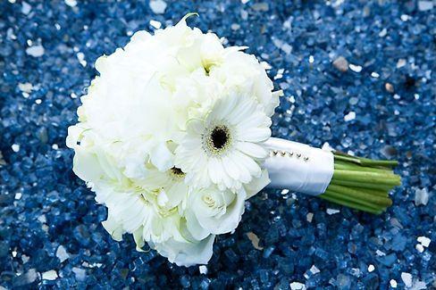 All white gerber daisy wedding bouquet