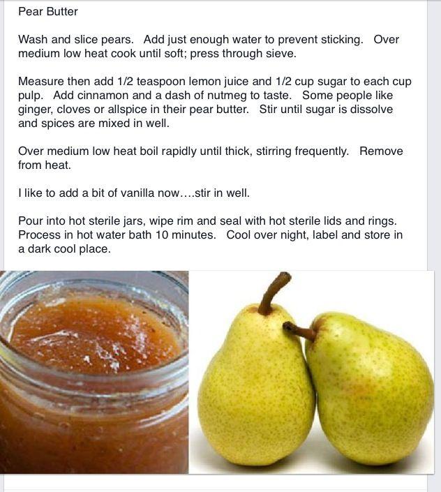 Pear Butter | Recipes | Pinterest