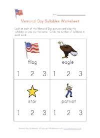 memorial day syllables worksheet   PRESCHOOL: Holidays   Pinterest