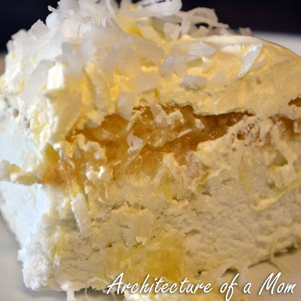 Architecture of a Mom: Pina Colada Cake...light! Uses crushed ...