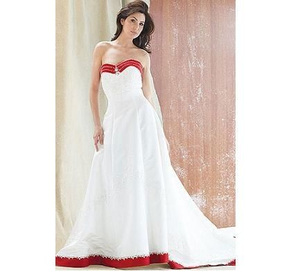 White dress red trim wedding dress pinterest for Wedding dress with blue trim