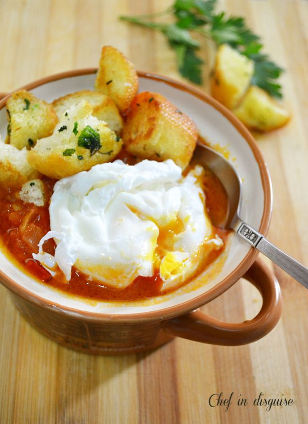 tomato soup with poached eggs | Favorite Recipes | Pinterest