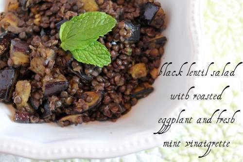 black lentil salad with roasted eggplant and fresh mint vinaigrette