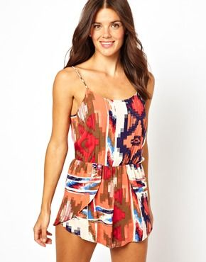 Insight Ethnic Print Beach Playsuit