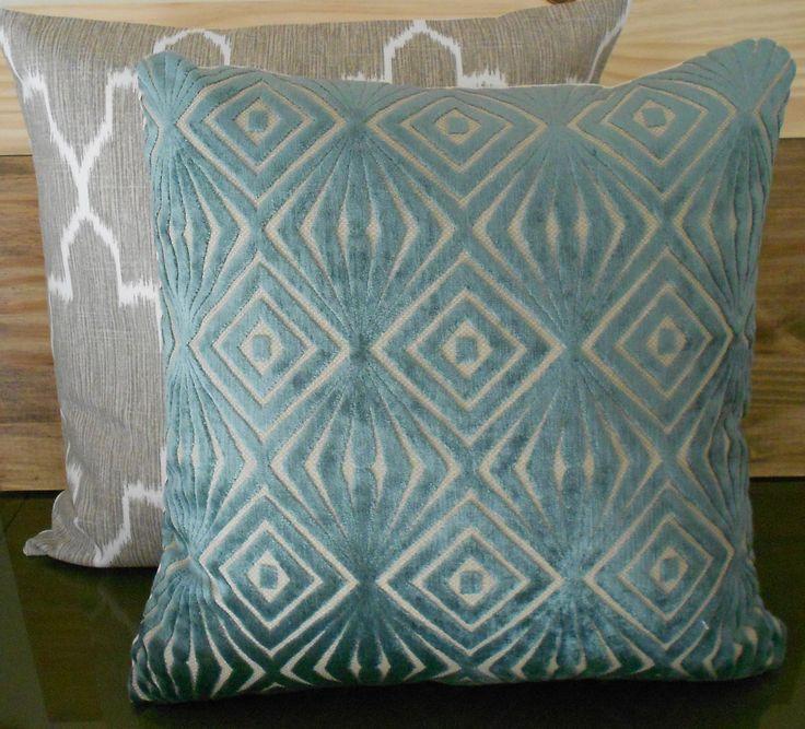 Teal Blue Throw Pillow Covers : Decorative pillow cover, teal blue, cut velvet, retro diamonds, accen?