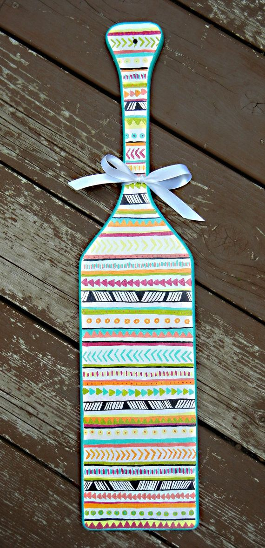 tribal print sorority paddle customizable and hand by artbykvb