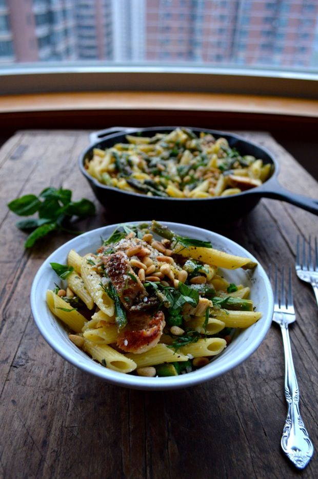 Chicken penne w/ asparagus & peas | Recipe