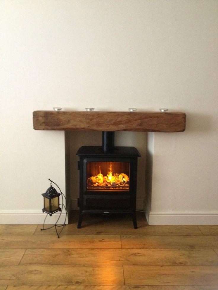 oak beam fireplace mantel reclaimed lintel rustic floating fixings