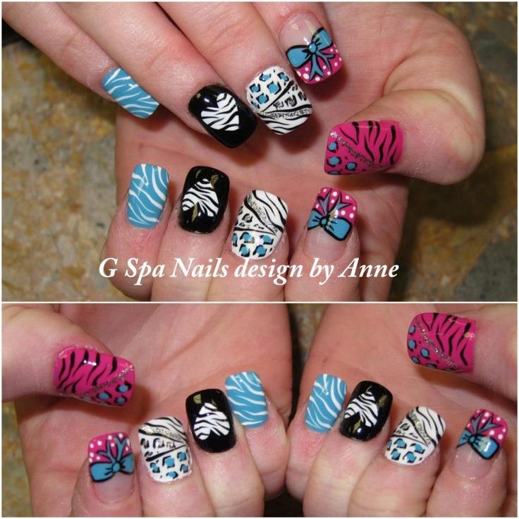 zebra cheetah bow nail designs nails designs pinterest