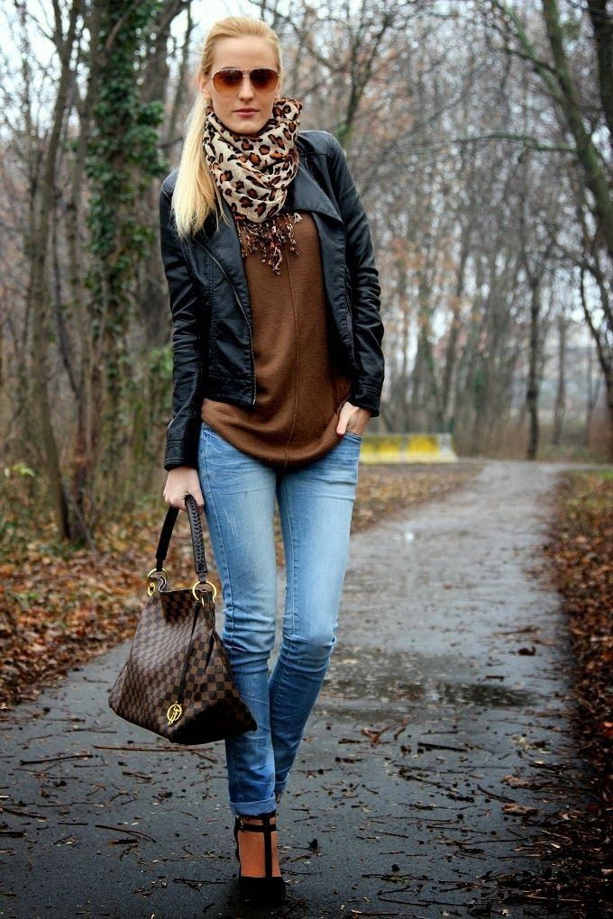 Brown Leather Jacket For Girls Outfit