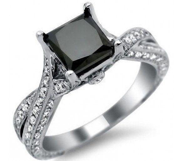 2 50ct black princess cut engagement ring 14k