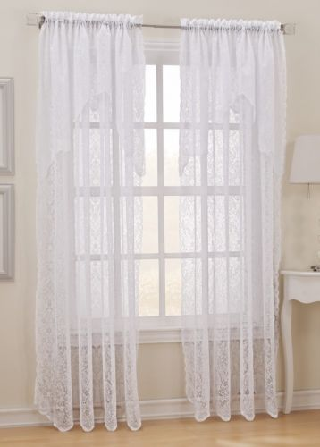 """... White Sheer Lace Curtain Panel with Attached Valance 58""""W x 84""""L ~New"""