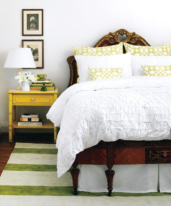 antique bed, modern bedding