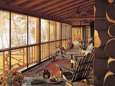 Log cabin porch decks and porches pinterest for Log cabin porches and decks