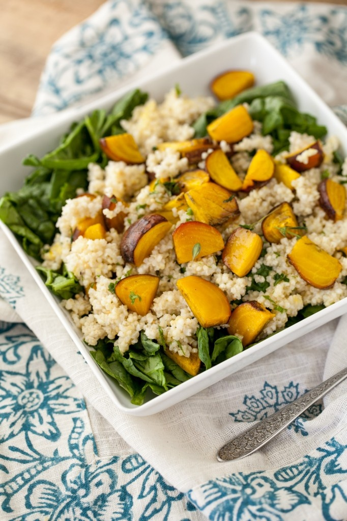 Vegan Roasted Golden Beet and Millet Spinach Salad with Herb Dressing