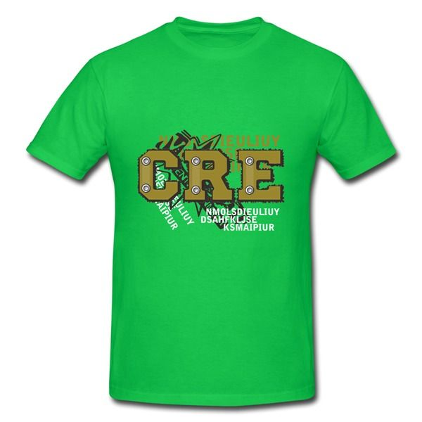 Simple Letters Design Kelly Green Heavyweight T Shirt For