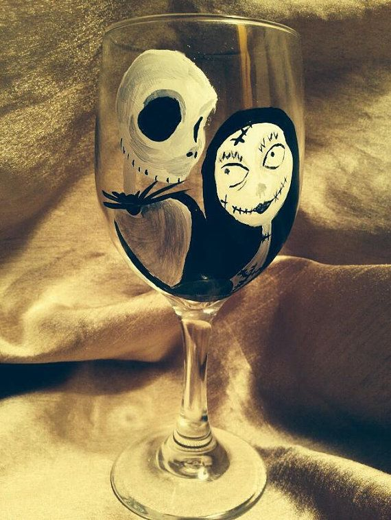 Nightmare Before Christmas wine glass by Payntstar on Etsy, $25.00