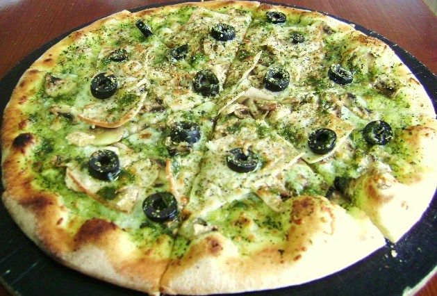 pesto pizza.one of MY faves but not so much others in our house. Good ...