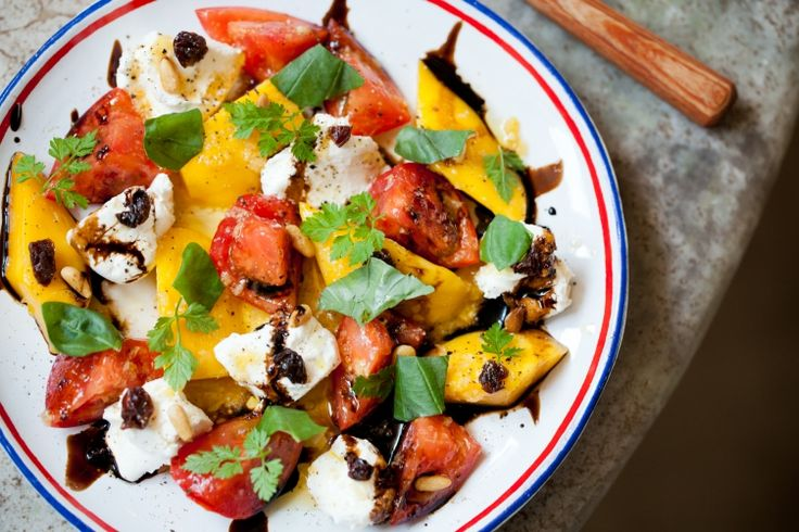 Ginger Flavored Caprese with Mango, Fruit Tomato and Cream Cheese