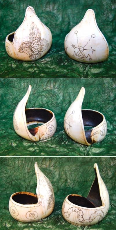 India | Two Naga shell bracelets carved from a single white conch shell and incised with designs | Probably from the Konyak people