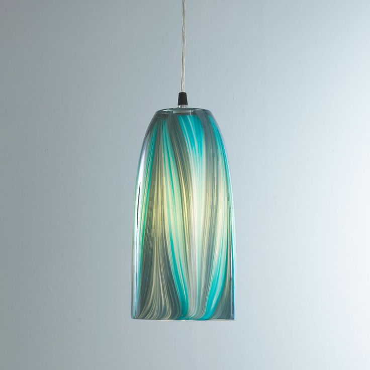 turquoise feather glass pendant light