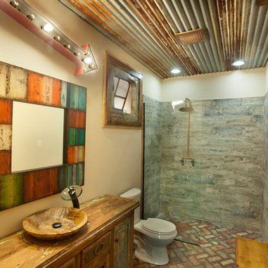 Old barn wood tin on bathroom ceiling barnwood pinterest for Old barn tin ideas