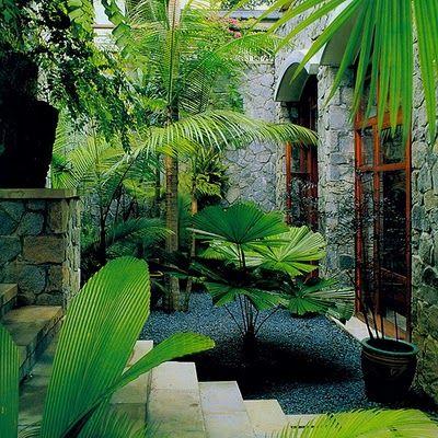 Dark gravel in tropical garden exotic courtyard pinterest for Tropical house garden design