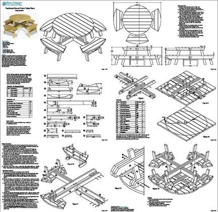 Round Picnic Table Construction Plans | We offer plans how to build ...