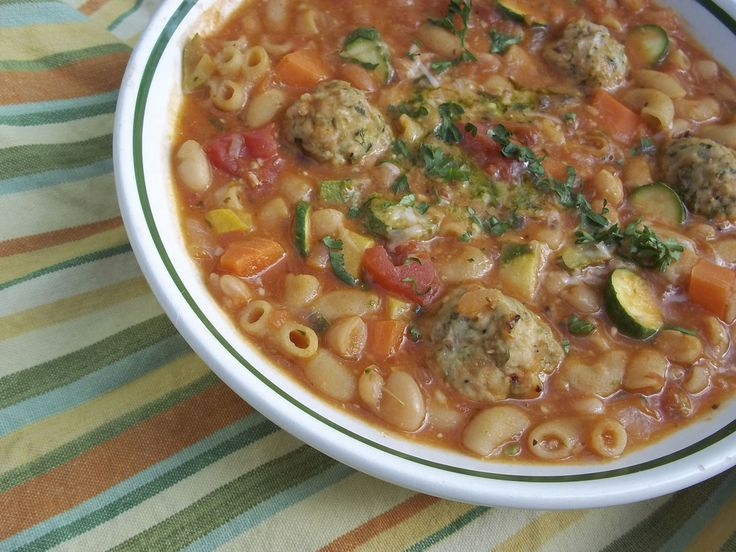 Mini Chicken Meatball, Pasta, And Vegetable Soup Recipes — Dishmaps