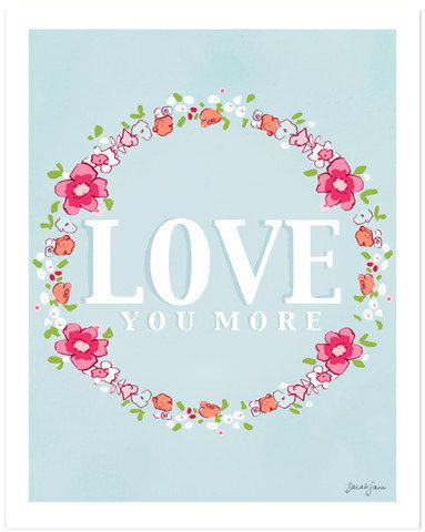 Children's Wall Art Print  Love You More  8x10 by sarahjanestudios, Etsy