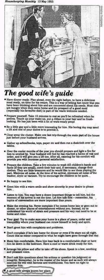 the good wife's guide... classic!  always know your place! hahahaha.
