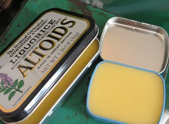 I love re-using metal Altoid tins! How perfect is that.  DIY Honey Cuticle Cream  1.5 ounces beeswax  3 ounces apricot kernel oil  1 tablespoon honey  Melt the wax and oil in the microwave, stir in the honey, and pour into tins or other containers.