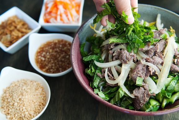 vietnamese bun bo xao beef noodle salad recipe | use real butter