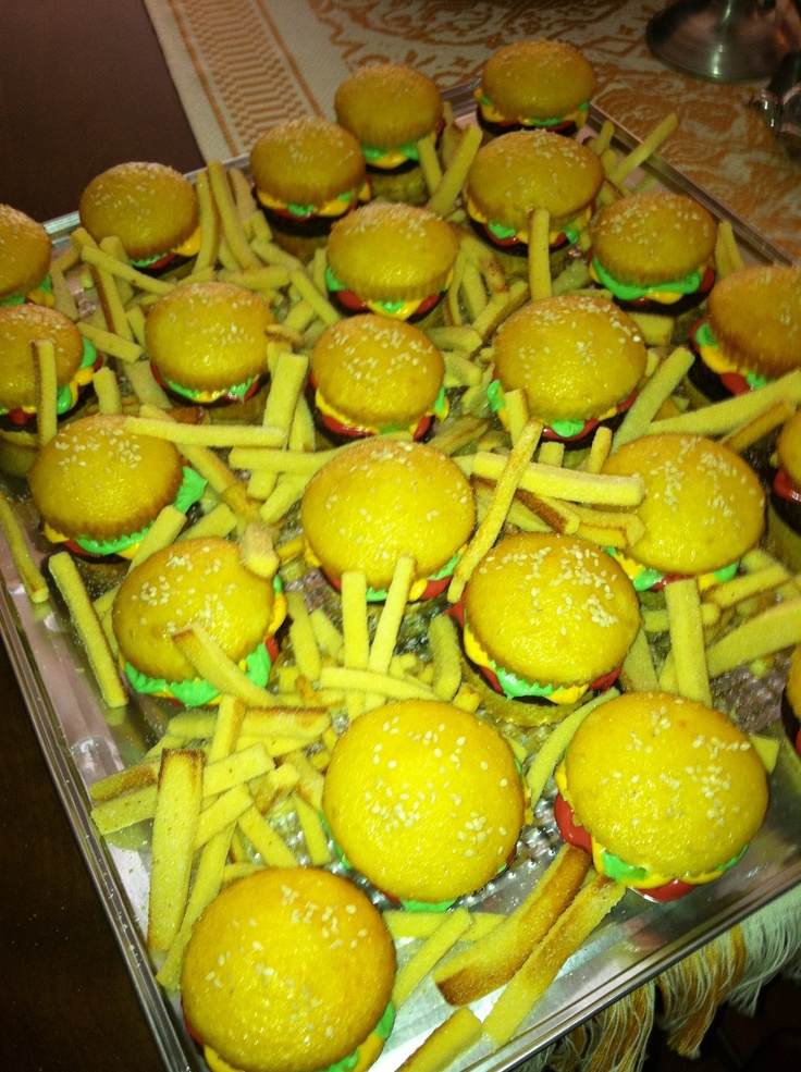 "Burger cupcakes with brownie patties and pound cake ""fries"". Perfec..."