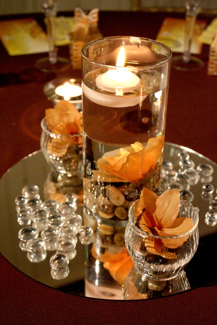 Floating candle mirror and gemstones centerpieces - Candle and mirror centerpieces ...