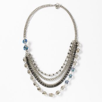 Simply Vera Vera Wang Two Tone Simulated Crystal and Bead Swag Necklace