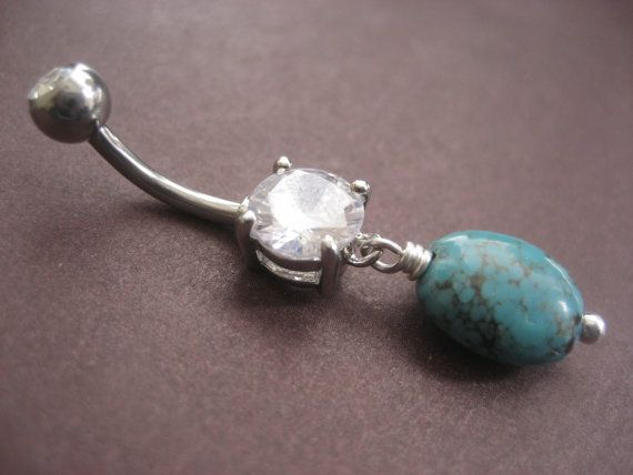 simple turquoise clear gem belly button ring jewelry