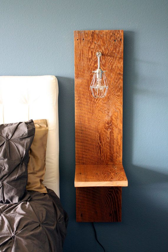 Wall Mounted Night Lamps : Wall Mounted Nighstand // Reclaimed Wood // Industrial Cage Lamp // R?