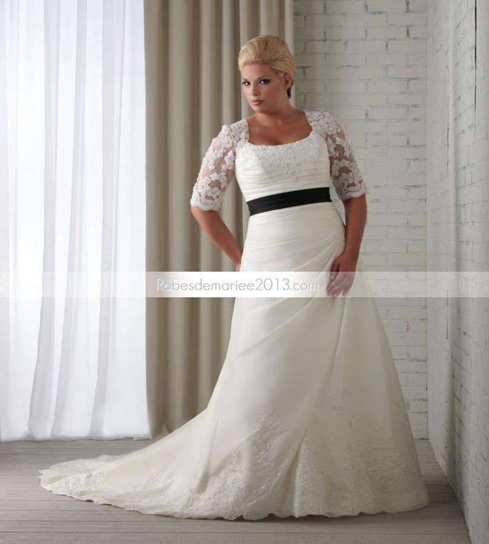 ... Sleeve Floor-length Appliques Sash Chapelle Plus Size robe de mariée