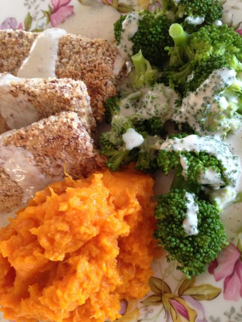 ... Tofu with Baked Sweet Potatoes, Broccoli & Tangy Mustard Dressing